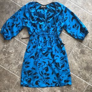 Yumi Kim Dresses - Yumi Kim Cobalt Blue Black Floral Dress